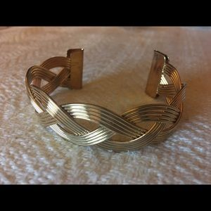 Gold Braided Cuff Bracelet Costume Jewelry